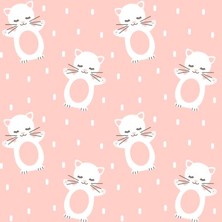 cute lovely seamless vector pattern background illustration with kitties  イラスト・ベクター素材