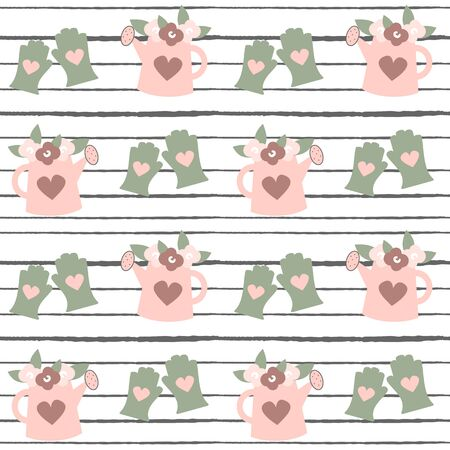 cute watering can seamless vector pattern illustration on striped background
