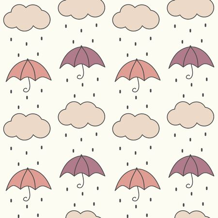 cute fall autumn seamless vector pattern background illustration with umbrellas, clouds and rain