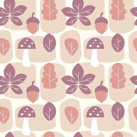 cute autumn fall seamless vector pattern background illustration with leaves, mushroom, abstract elements and acorns