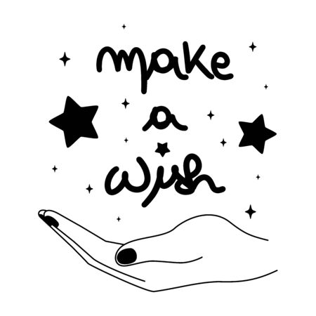make a wish hand drawn lettering concept vector illustration with hand and stars