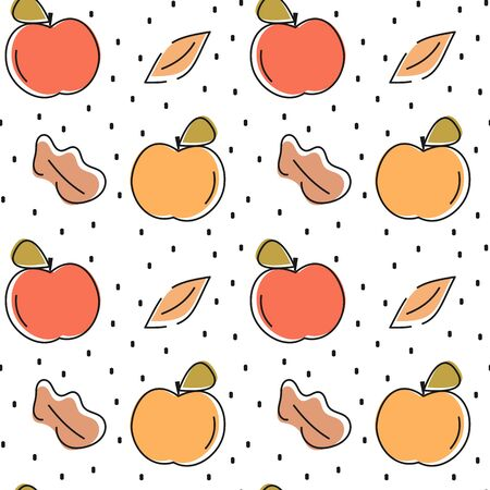 cute colorful hand drawn fresh apples seamless vector pattern background illustration Ilustracja