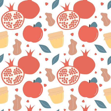 Rosh Hashanah Jewish New Year holiday seamless vector pattern background illustration with pomegranate, honey, leaves and apple for wallpaper and greeting cards