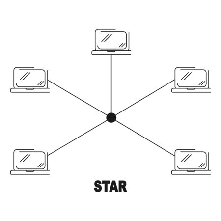 star network topology vector black linear flat style icon