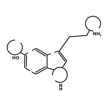 serotonin vector black linear flat style icon