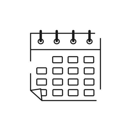 calendar vector black linear flat style icon Иллюстрация