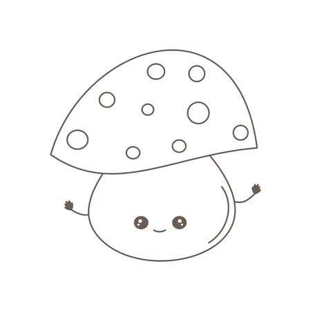 cute cartoon black and white character mushroom vector illustration for coloring art Ilustracja