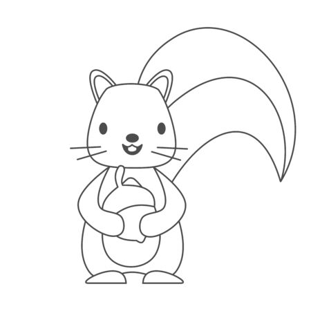ute lovely black and white cartoon character squirrel with acorn vector illustration for coloring art