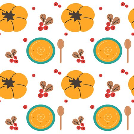 cute autumn fall isolated hand drawn illustration of pumpkin cream soup, spoon and berries seamless vector pattern background illustration Stockfoto - 132192970