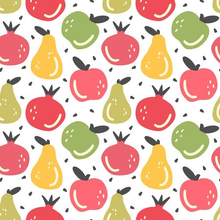 hand drawn abstract seamless vector pattern background illustration with fruit in flat modern style Ilustracja