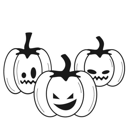 halloween black and white vector illustration with pumpkins for coloring art