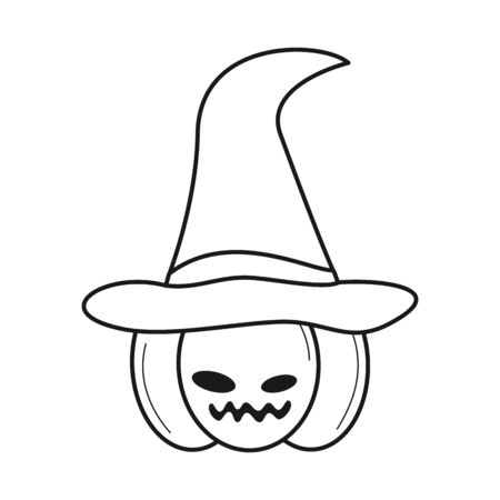 happy halloween black and white vector pumpkin with witch hat illustration for coloring art