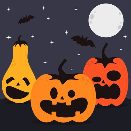 cute halloween hand drawn vector banner, party invitation, background design with different pumpkins and jack o lanterns on night sky background with bats, moon and stars
