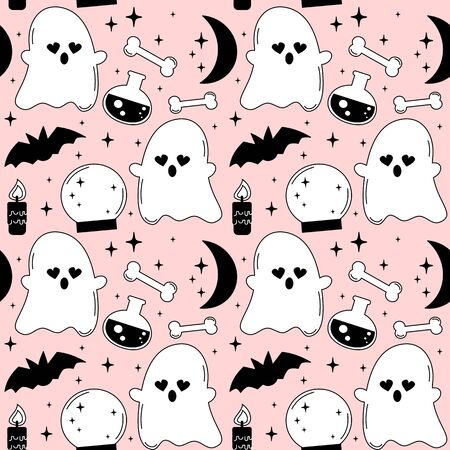 pink cartoon, black and white holidays seamless pattern background vector illustration with halloween elements: ghost, bats, bones, moon, stars, candle and crystal ball Çizim