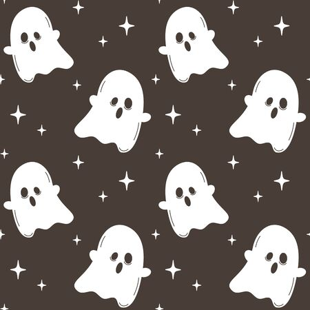 cute cartoon halloween seamless vector pattern background illustration with ghost in the night with stars