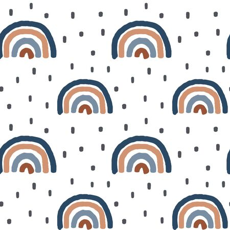 cute seamless vector pattern background illustration with hand made rainbows and polka dot elements for design and baby products Stock Illustratie