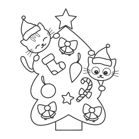 cute cartoon black and white christmas tree with funny cats vector illustration for coloring art Stock Illustratie