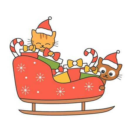 cute cartoon cats in sleigh vector illustration isolated on white background