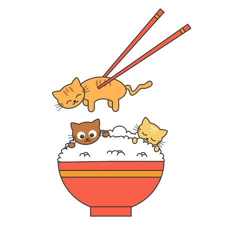 cute cartoon rice bowl with cats and chopsticks funny vector illustration