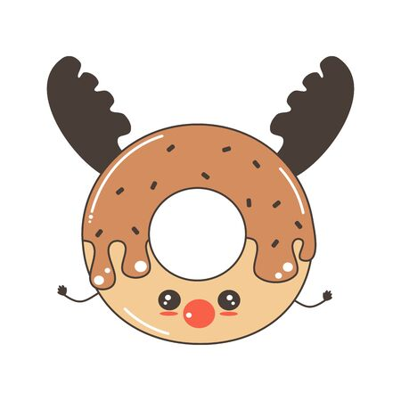 cute cartoon character reindeer donut funny holidays vector illustration