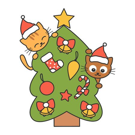cute cartoon christmas tree with cats funny vector holidays illustration