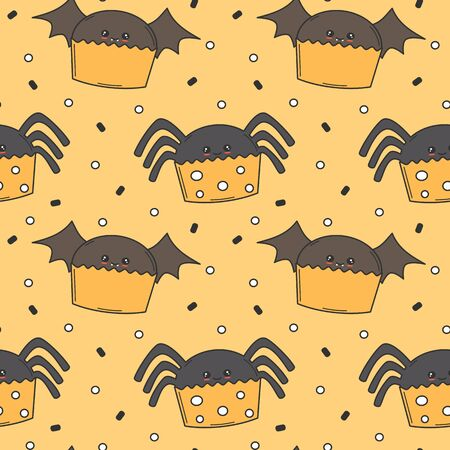 cute cartoon halloween seamless vector pattern background illustration with spider and bat cupcakes