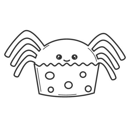 cute cartoon vector black and white spider funny halloween cupcake illustration for coloring art