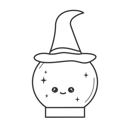 cute cartoon black and white vector character cartoon character with witch hat funny halloween illustration for coloring art