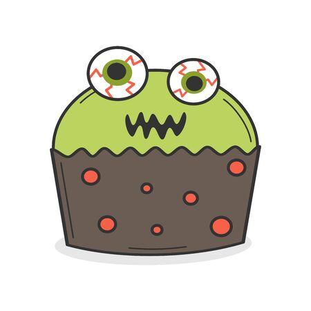 cute cartoon green monster cupcake funny halloween illustration isolated on white background Stock Illustratie