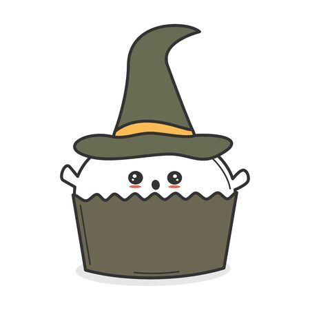 cute cartoon vector ghost with witch hat cupcake funny halloween illustration isolated on white background Stock Illustratie