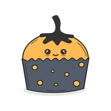 cute cartoon vector pumpkin cupcake funny halloween illustration isolated on white background Stockfoto - 132193352