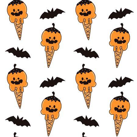 cute cartoon pumpkin ice cream funny holidays seamless vector pattern background illustration