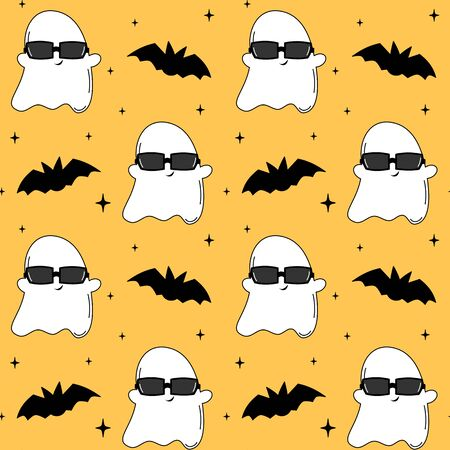 cute cartoon cool ghost with sunglasses and bats funny halloween seamless vector pattern background illustration