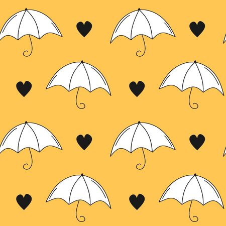 cute autumn fall seamless vector pattern background illustration wiht hand drawn umbrellas and hearts