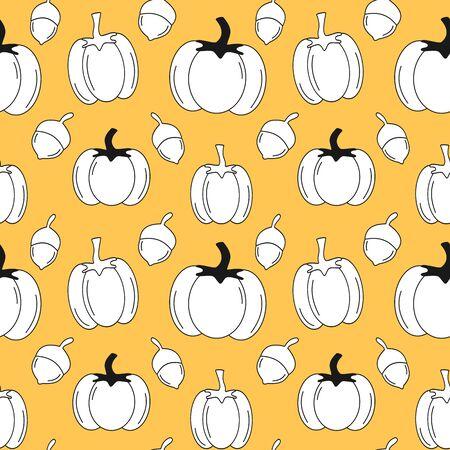 autumn fall seamless vector pattern illustration with pumpkins and acorns on orange background Stock Illustratie