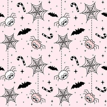 cute black, white and pink halloween seamless vector pattern background illustration with spider, bats, cobweb, candy cane and stars
