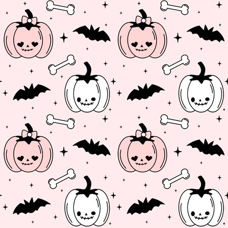 cute black, white and pink halloween seamless vector pattern background illustration with pumpkins, bats, bones and stars