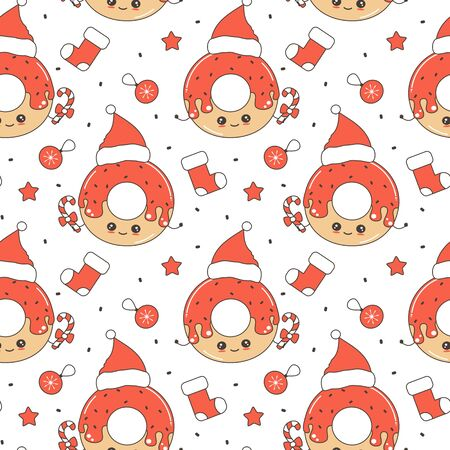 cute cartoon character christmas donut with santa hat funny seamless vector pattern background illustration
