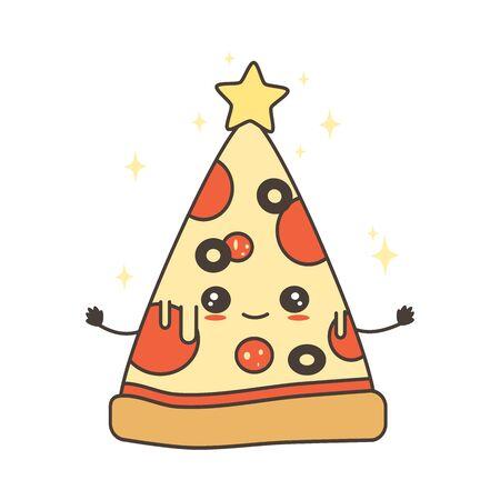 cute cartoon character pizza slice christmas tree vector illustration