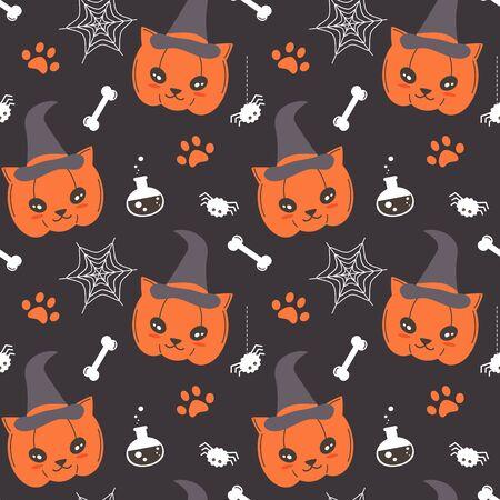 cute cartoon cat pumpkin seamless vector halloween pattern background illustration with spider, web, paw print, potion and bones Stock Illustratie