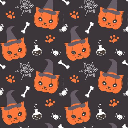 cute cartoon cat pumpkin seamless vector halloween pattern background illustration with spider, web, paw print, potion and bones Illustration