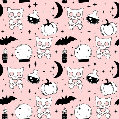 pink cartoon, black and white holidays seamless pattern background vector illustration with halloween elements: cat skull, bats, bones, moon, stars, candle and crystal ball