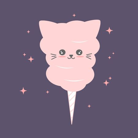 cute cartoon cotton candy cat vector illustration