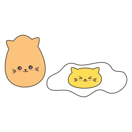 cute cartoon eggs vector funny illustration