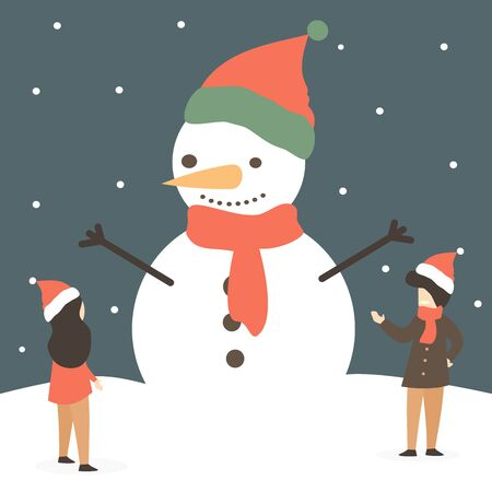 cute holidays vector illustration with happy little people and beautiful huge snowman