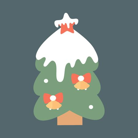 cute cartoon christmas tree with snow holidays vector illustration