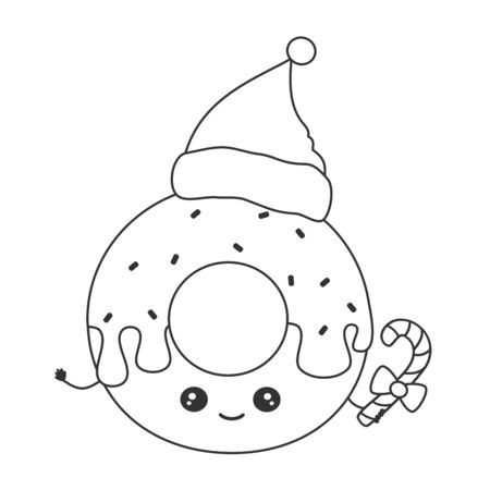 cute cartoon black and white character christmas donut with santa hat funny vector illustration for coloring art Stock Illustratie