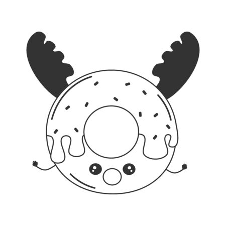 cute cartoon black and white character reindeer donut funny holidays vector illustration for coloring art
