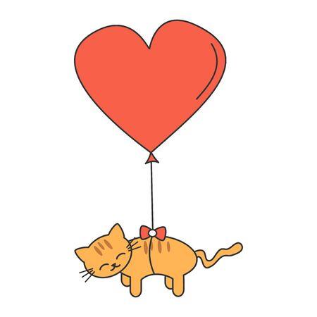 cute cartoon cat flying in the sky with big heart balloon romantic vector illustration Illustration