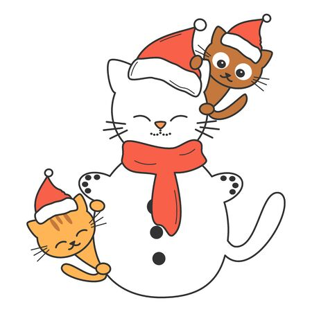 cute cartoon cat snowman with kitties vector illustration isolated on white background